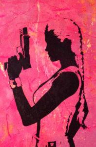 diana eger, kunst, Frankfurt, art, aluminium, diana eger, canvas, Auftragskunst, customized art, Leinwand, Lara croft, Angelina Jolie