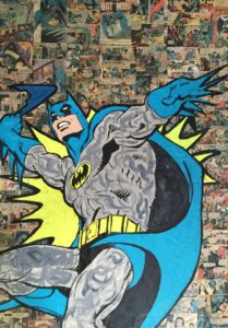 diana eger, art, kunst, Frankfurt, Popart, Auftragskunst, customized art, wood, Mickey, mouse, comic, collage, batman, comic