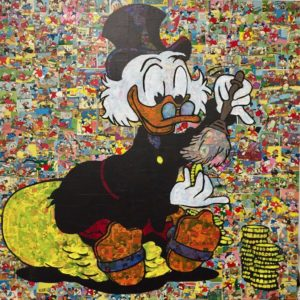 diana eger, art, kunst, Frankfurt, Popart, Auftragskunst, customized art, wood, Mickey, mouse, comic, collage, euro