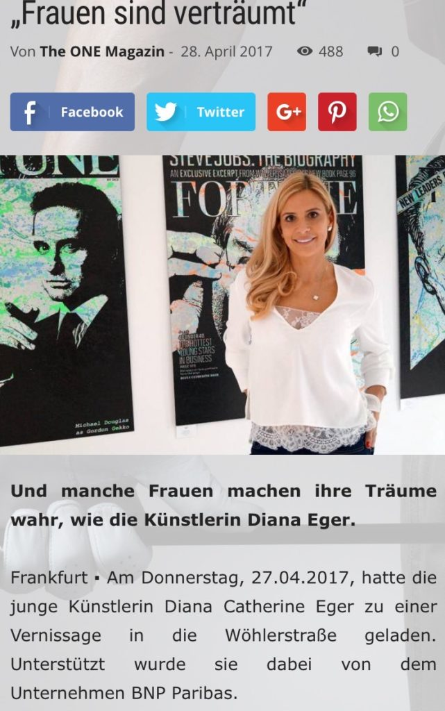 Diana Eger, Sabrina Setlur, frankfurt, art, kunst, presse, press, Zeitung, the one Magazin