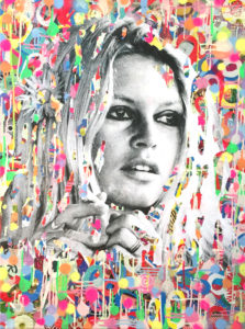wood, Collage, diana eger, art, kunst, Frankfurt, Popart, Auftragskunst, Brigitte Bardot, customized art, dots