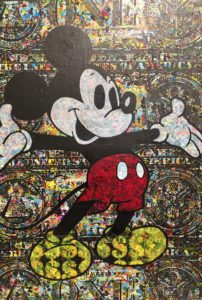 diana eger, art, kunst, Frankfurt, Popart, Auftragskunst, shop, customized art, Künstlerin, wood, dollar, Mickey, mouse, comic, collage