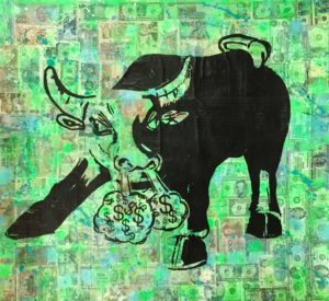 Auftragskunst kunst, customize art, remittance art, Frankfurt, diana eger, bulle, bull&bear, euro, money never sleeps, gordon Gekko, dollar