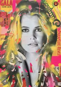 diana eger, art, kunst, Frankfurt, Popart, Auftragsarbeit, shop, customized art, Brigitte Bardot, collage, Claudia Schiffer, Schiffer