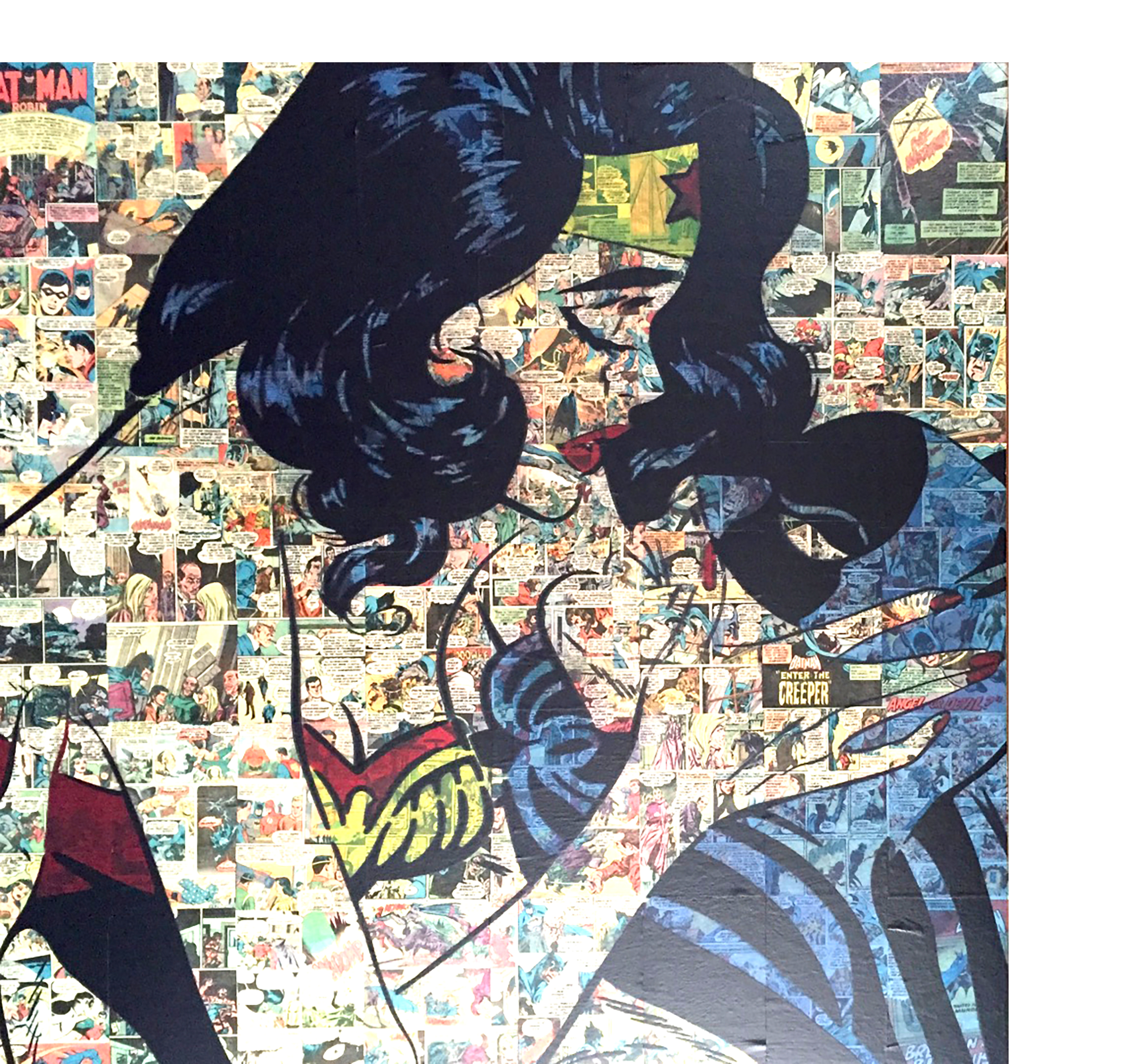 comic collage, diana eger, kunst, frankfurt, aufragskunst, portrait, batman, wonder woman, comic