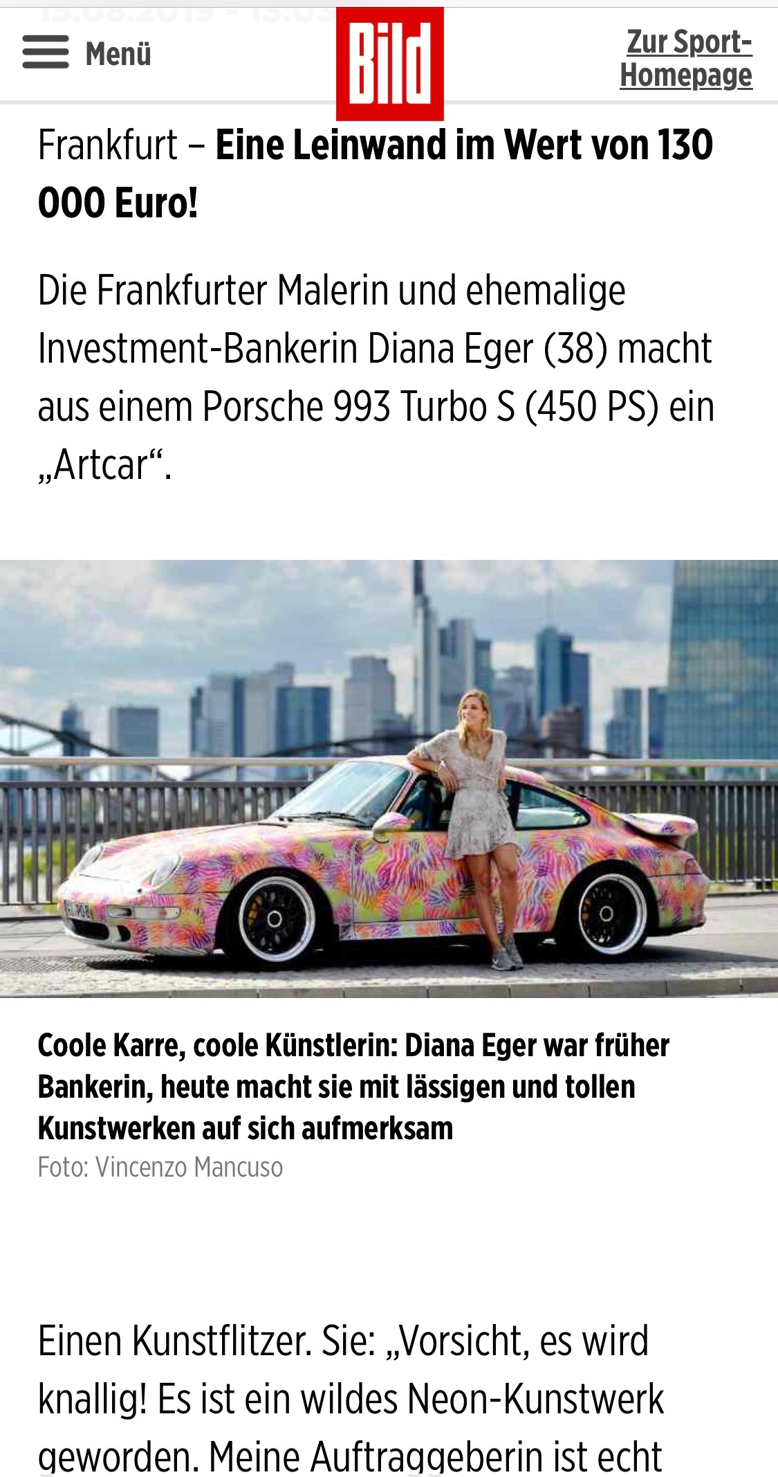 Diana Eger, dianaeger, Artcar, art, Frankfurt, Porsche, 993, Popart, kunst, PorscheTurbo, Bildzeitung, bild